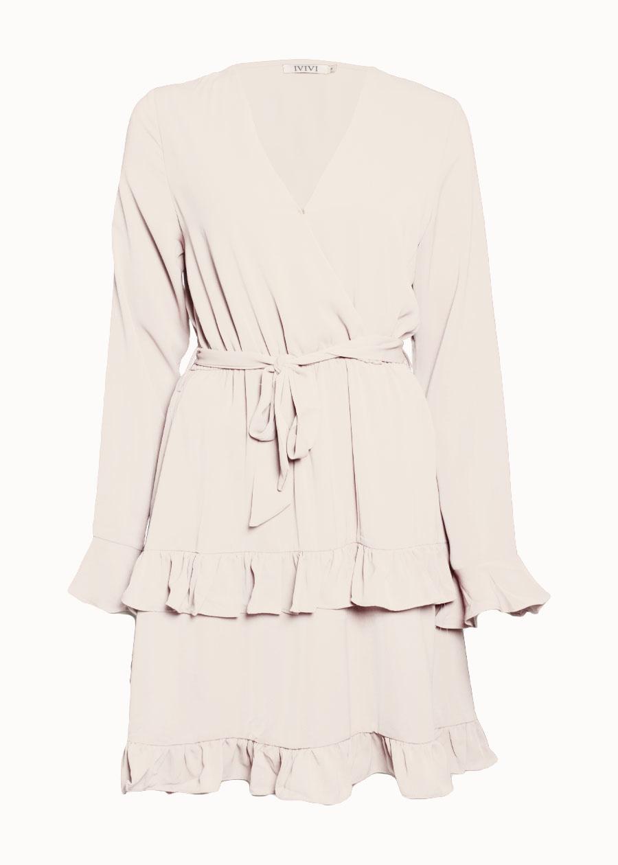 Ruffle jurk travelstof beige