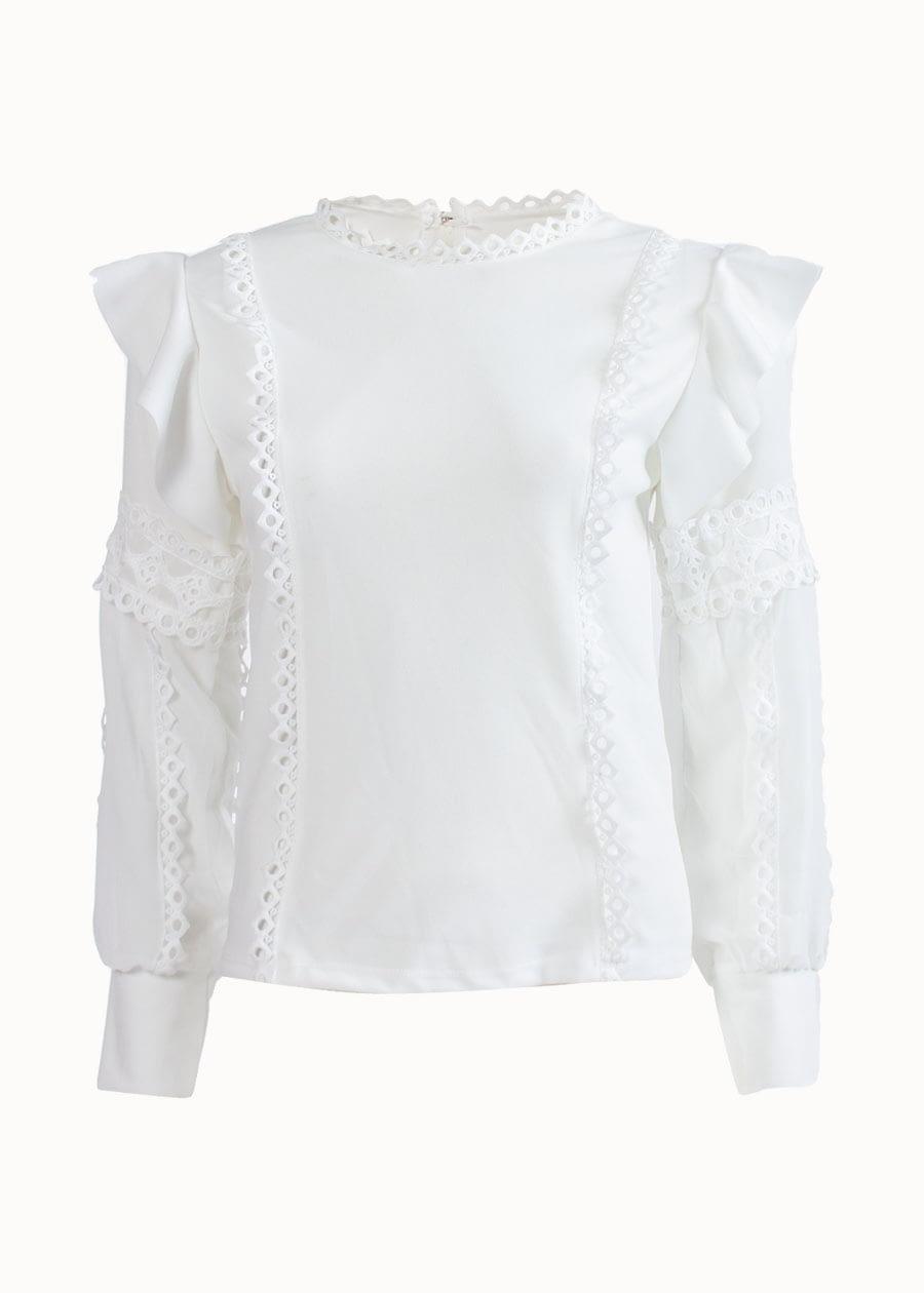 Ruffle blouse wit