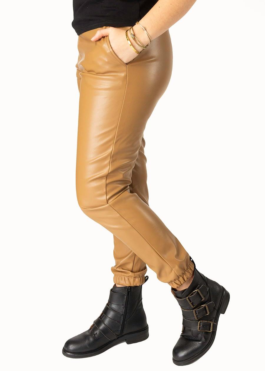 Fake leather pants elastiek