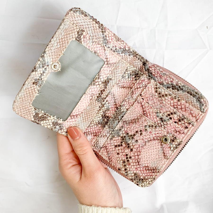 Portemonnee slangenprint roze