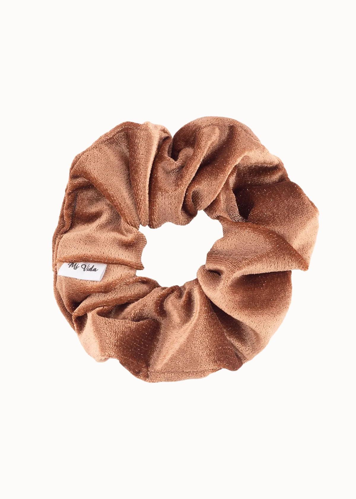 Velvet scrunchie bruin
