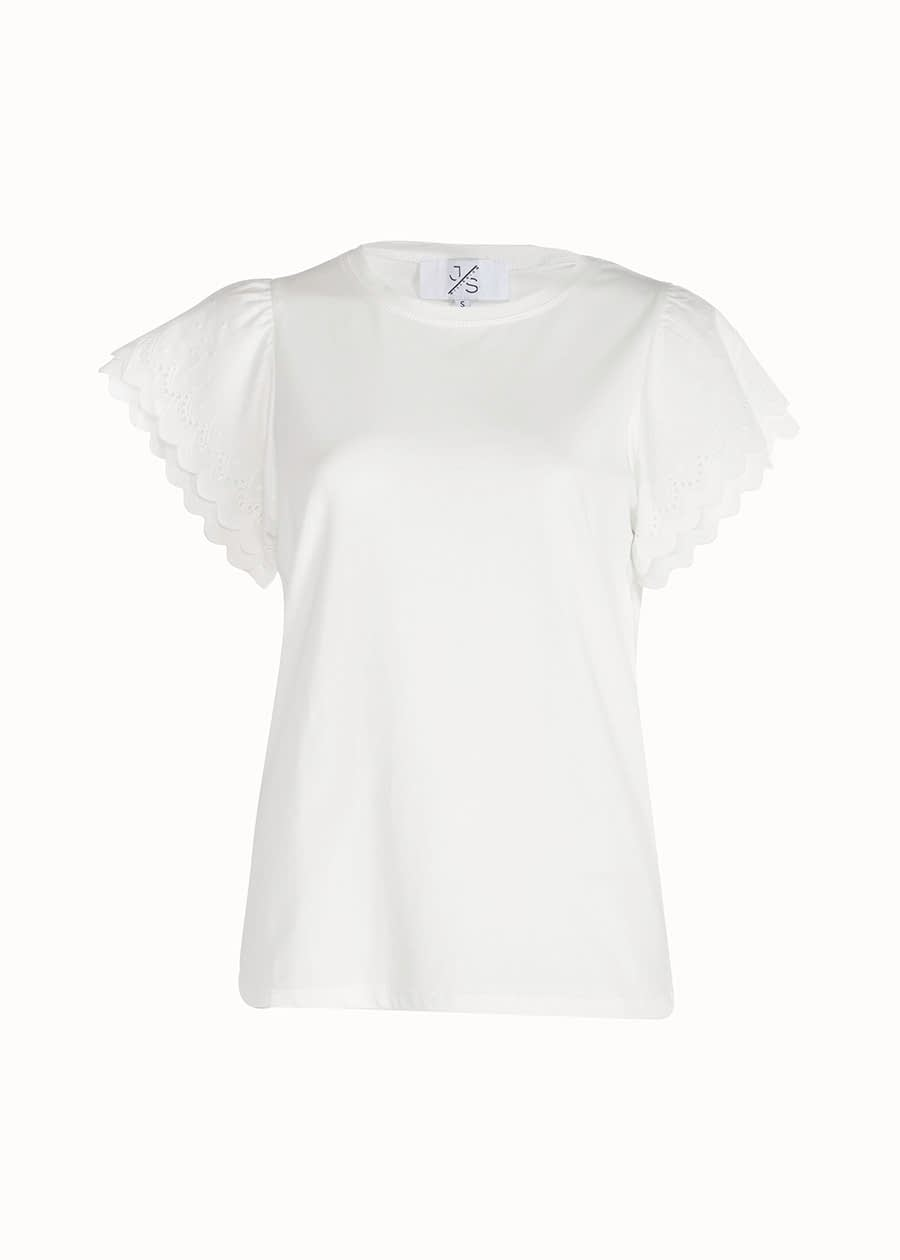Shirt broderie mouw wit