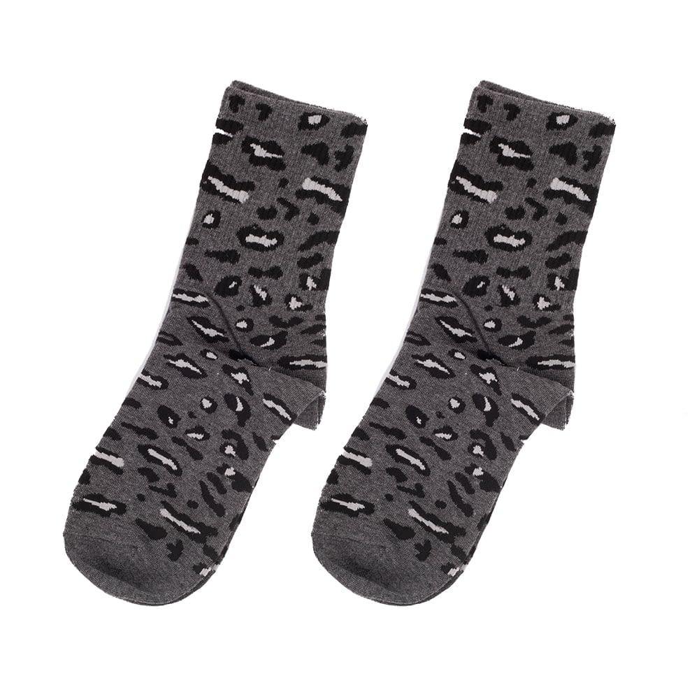 Sokken hoog luipaard print grijs