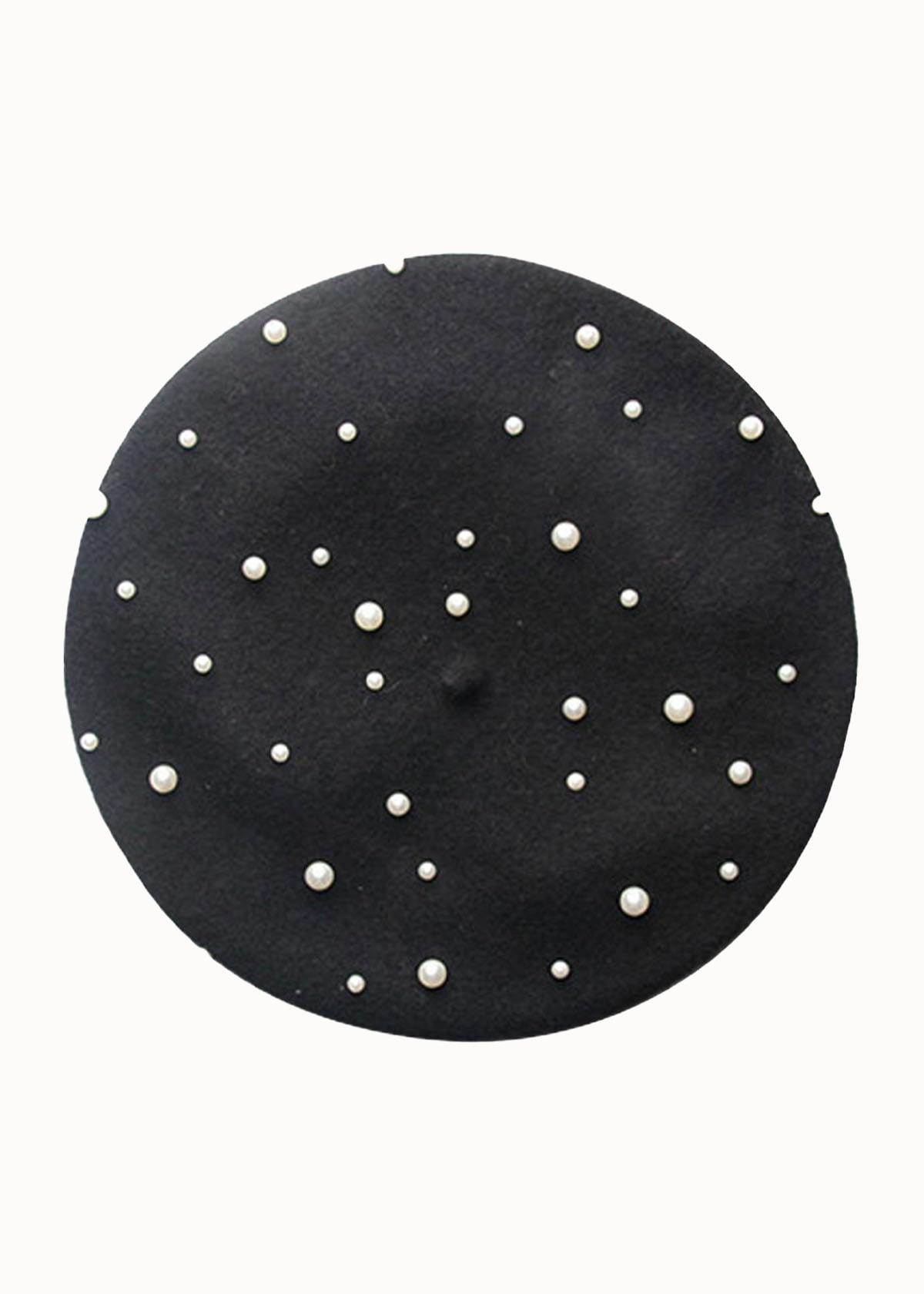 Baret met parels zwart