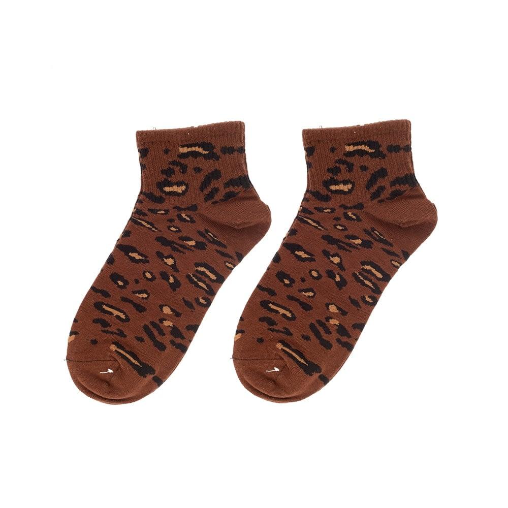 Sokken enkel luipaard print bruin