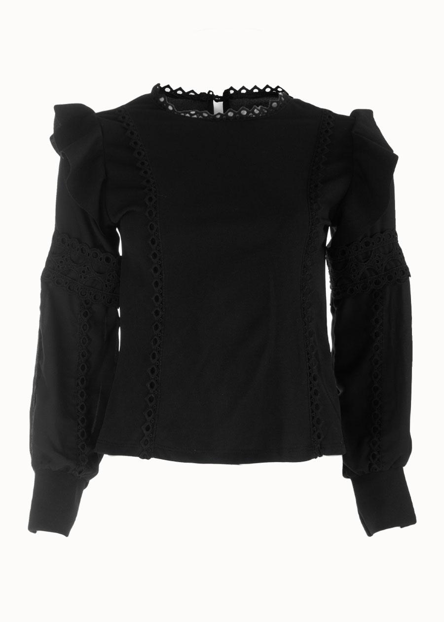 Ruffle blouse zwart