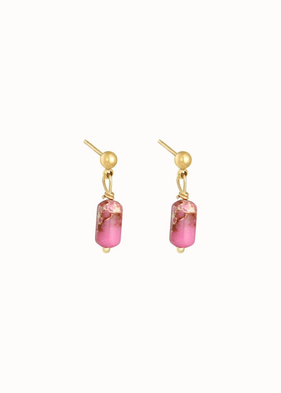 Oorbellen edelstenen roze