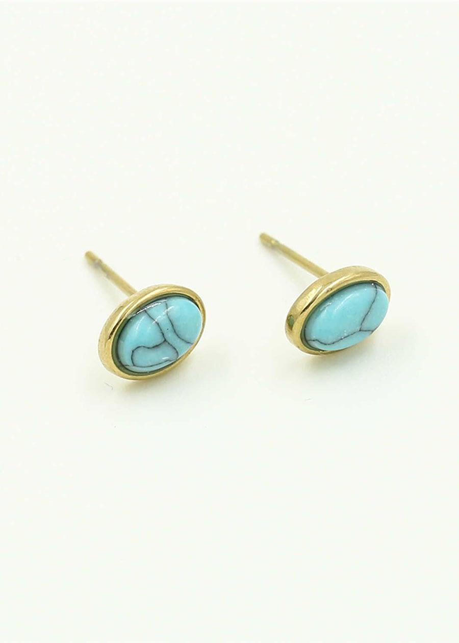 Oorknopje met steen blauw