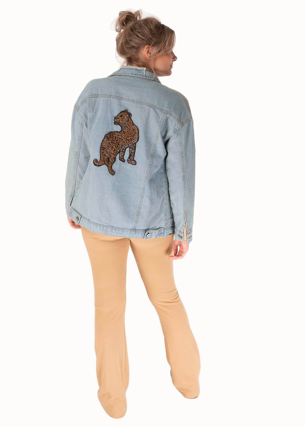 Chunky denim jacket tiger