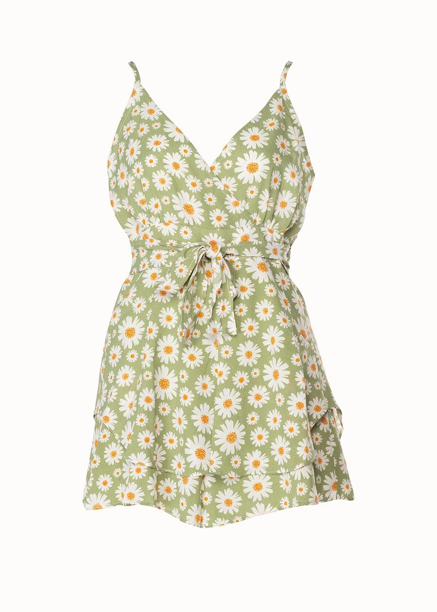 Jumpsuit bloemenprint groen