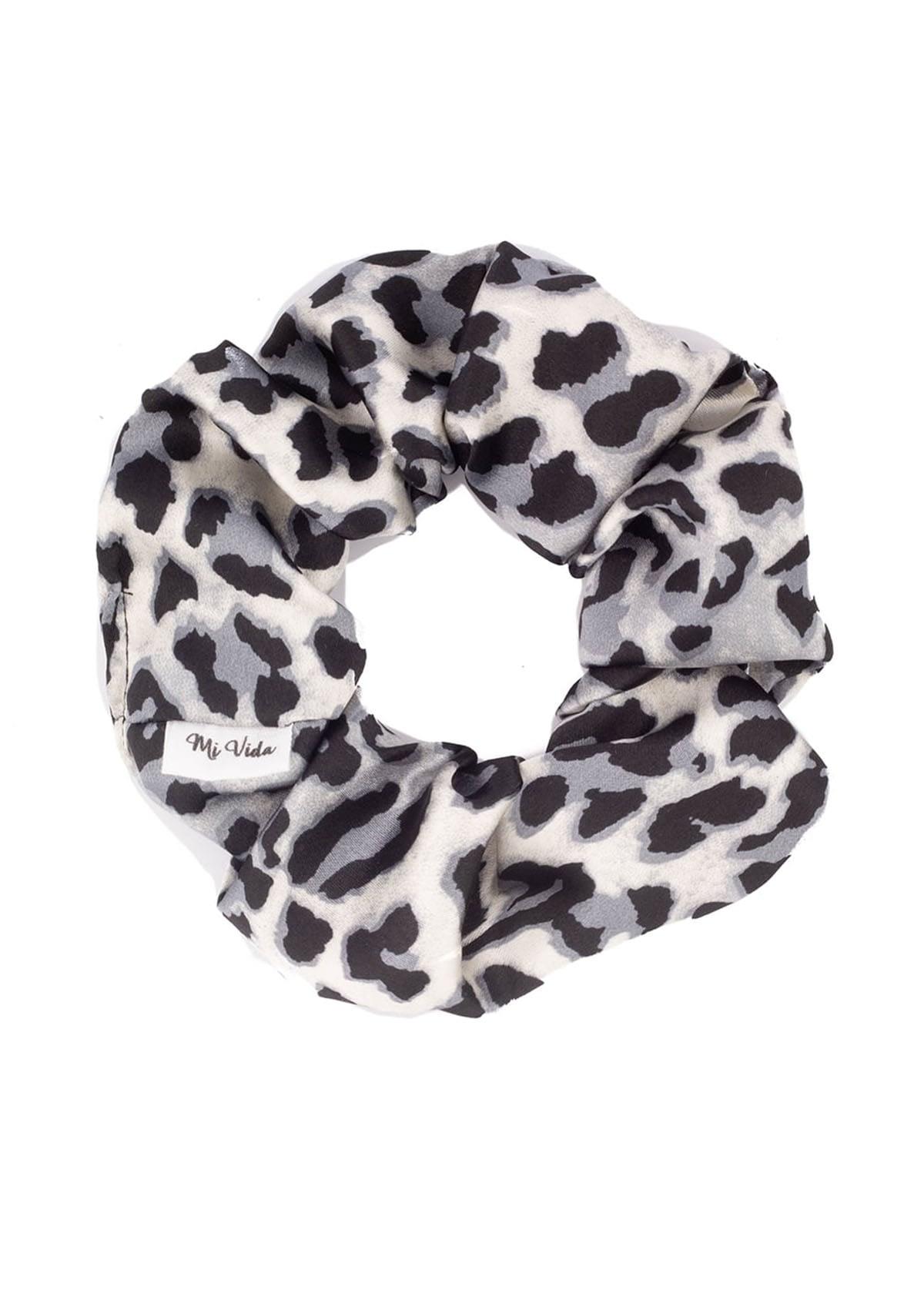 Satijnen scrunchie luipaard print zwart