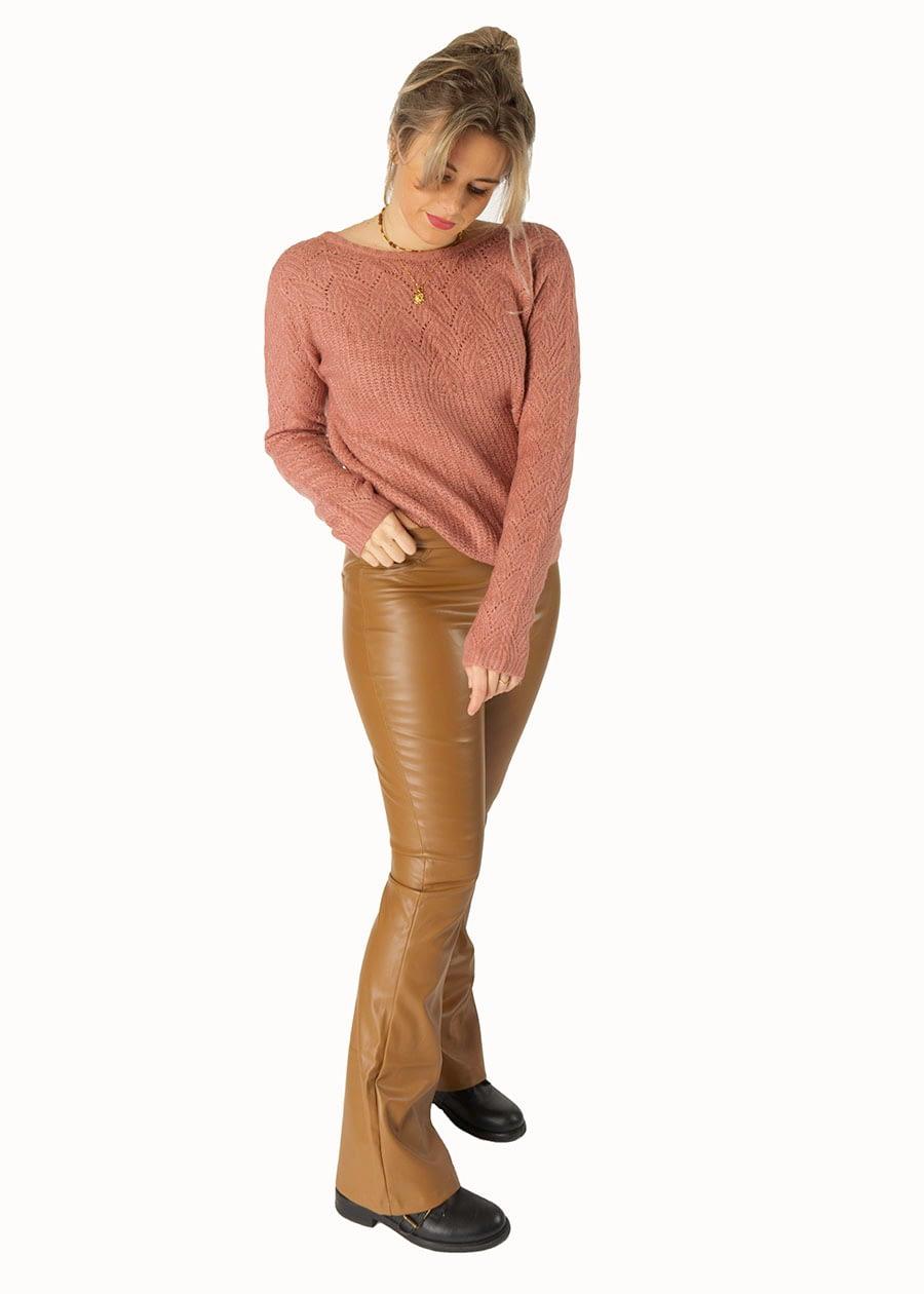Fake leather pants camel