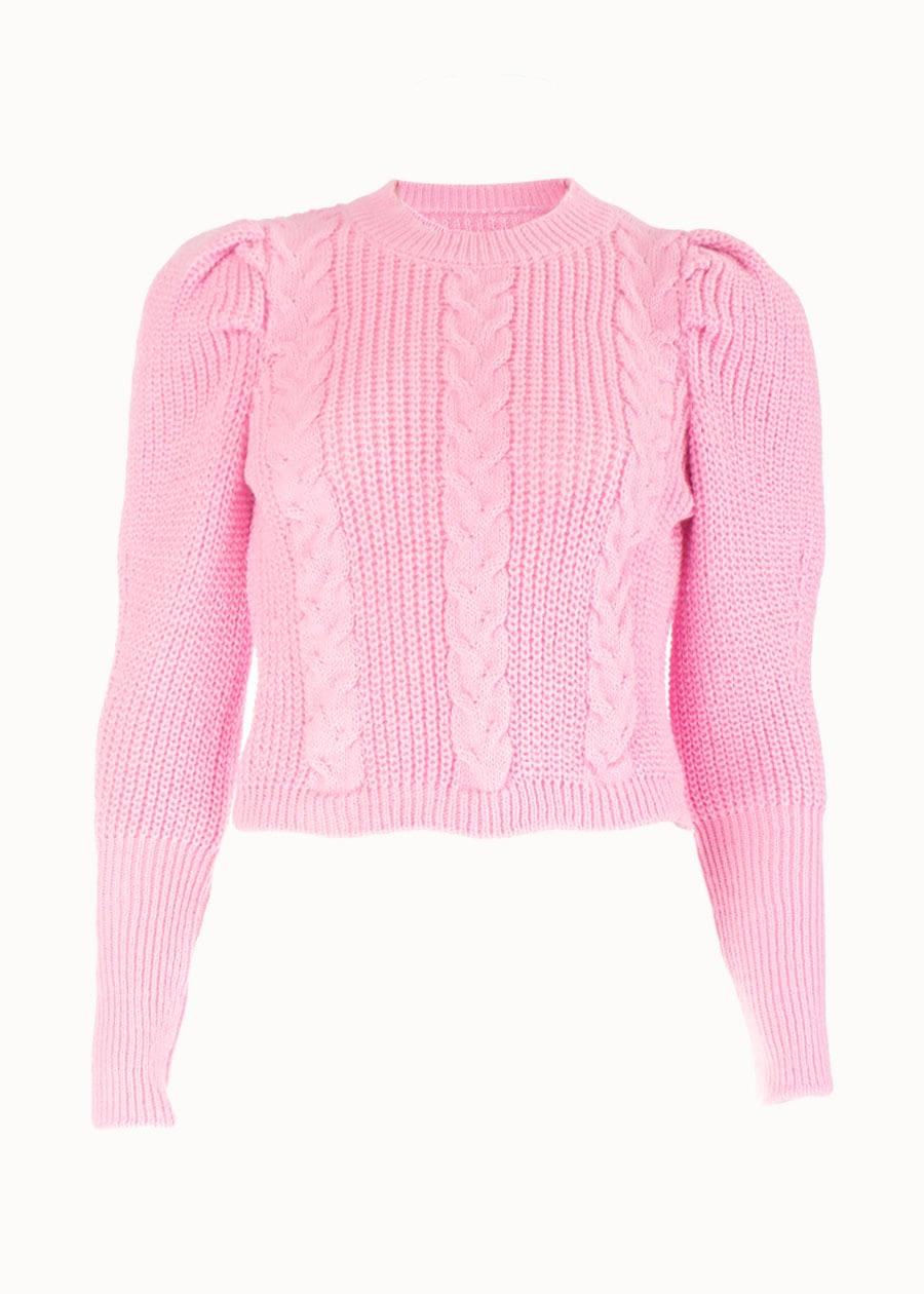 Ruffle trui roze