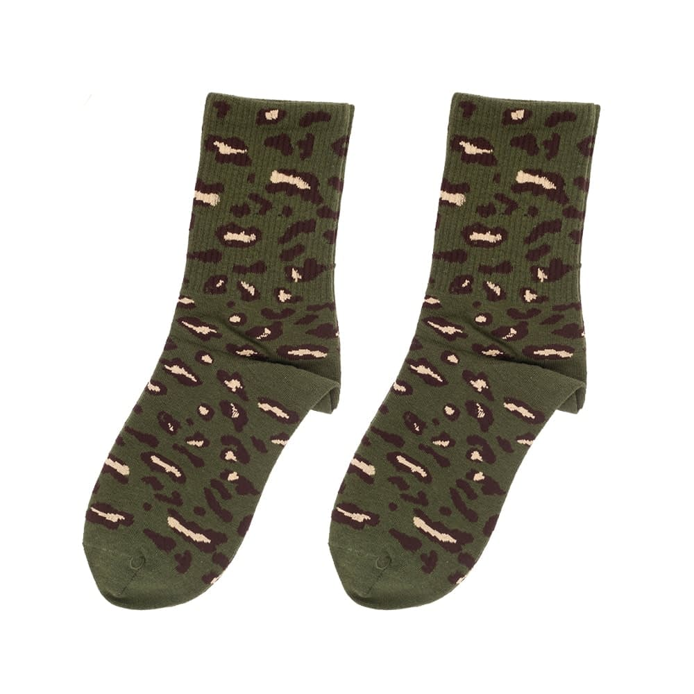 Sokken hoog luipaard print legergroen