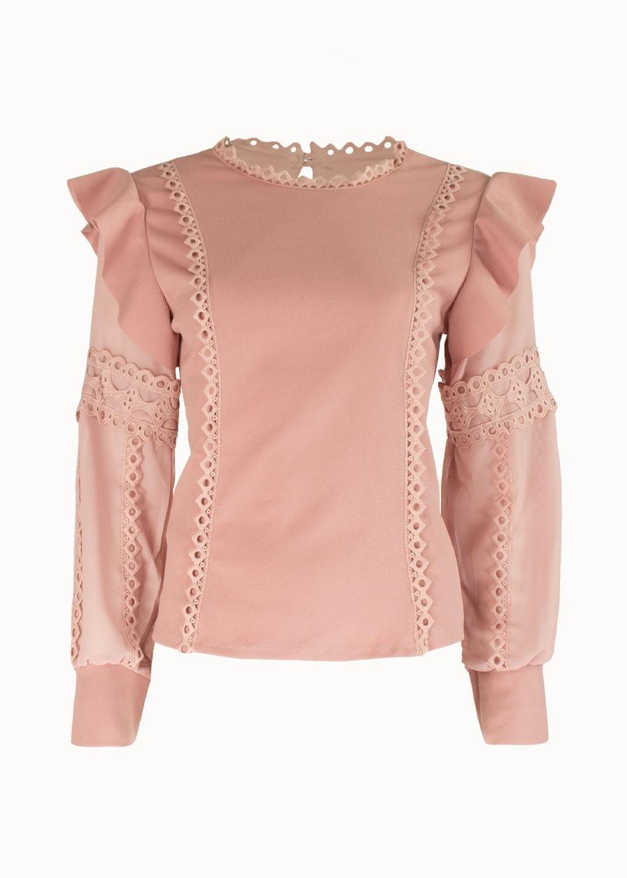 ruffle blouse roze