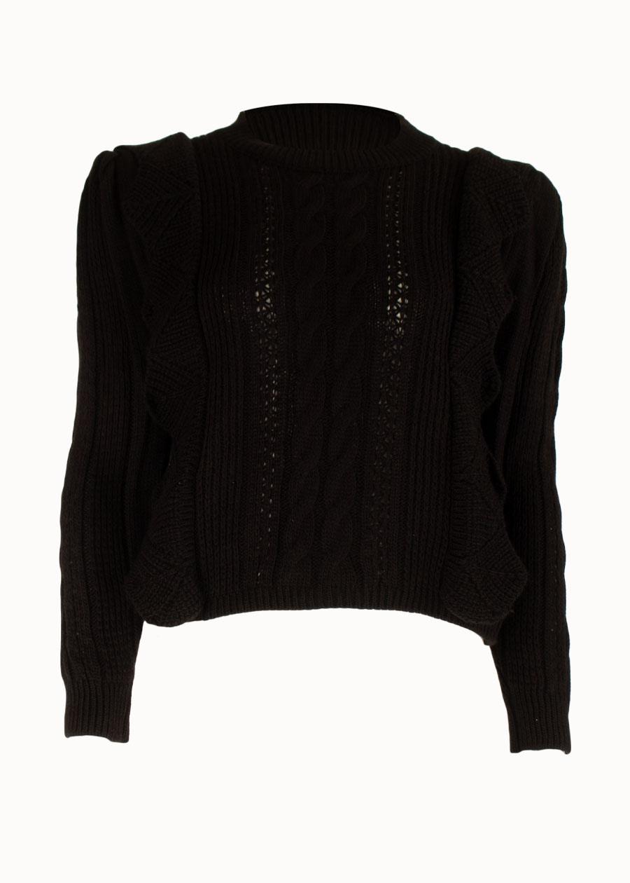 Ruffle trui zwart