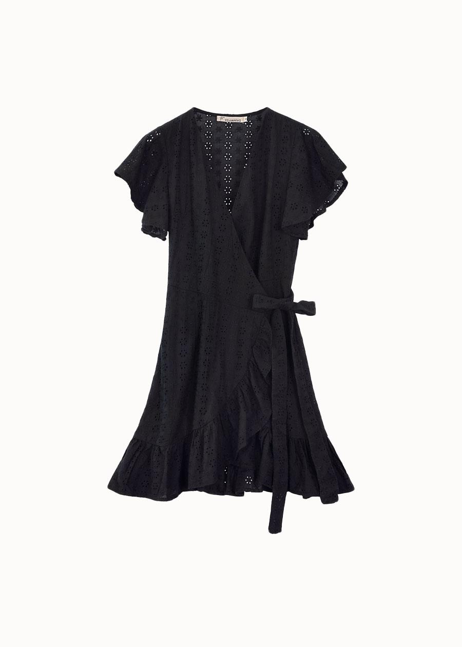 Broderie jurk zwart
