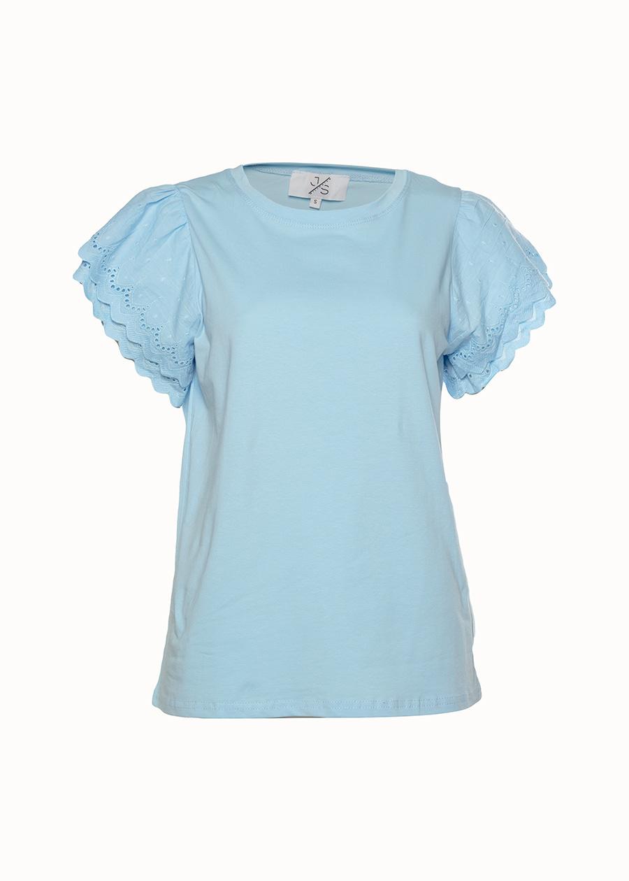 Shirt broderie mouw blauw