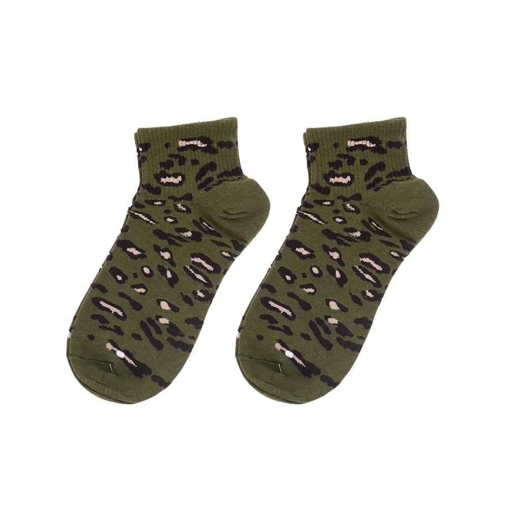 Sokken enkel luipaard print legergroen
