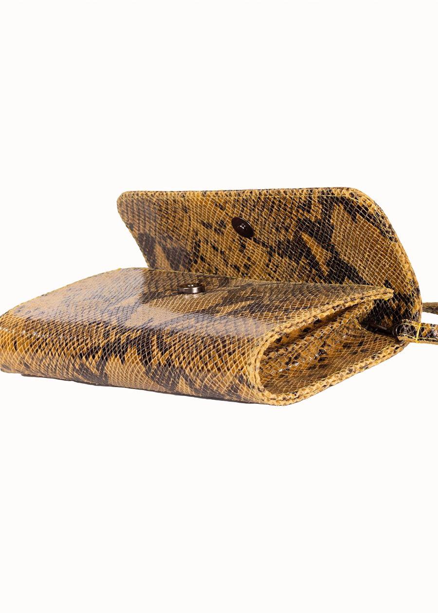 Schoudertas slangenprint geel