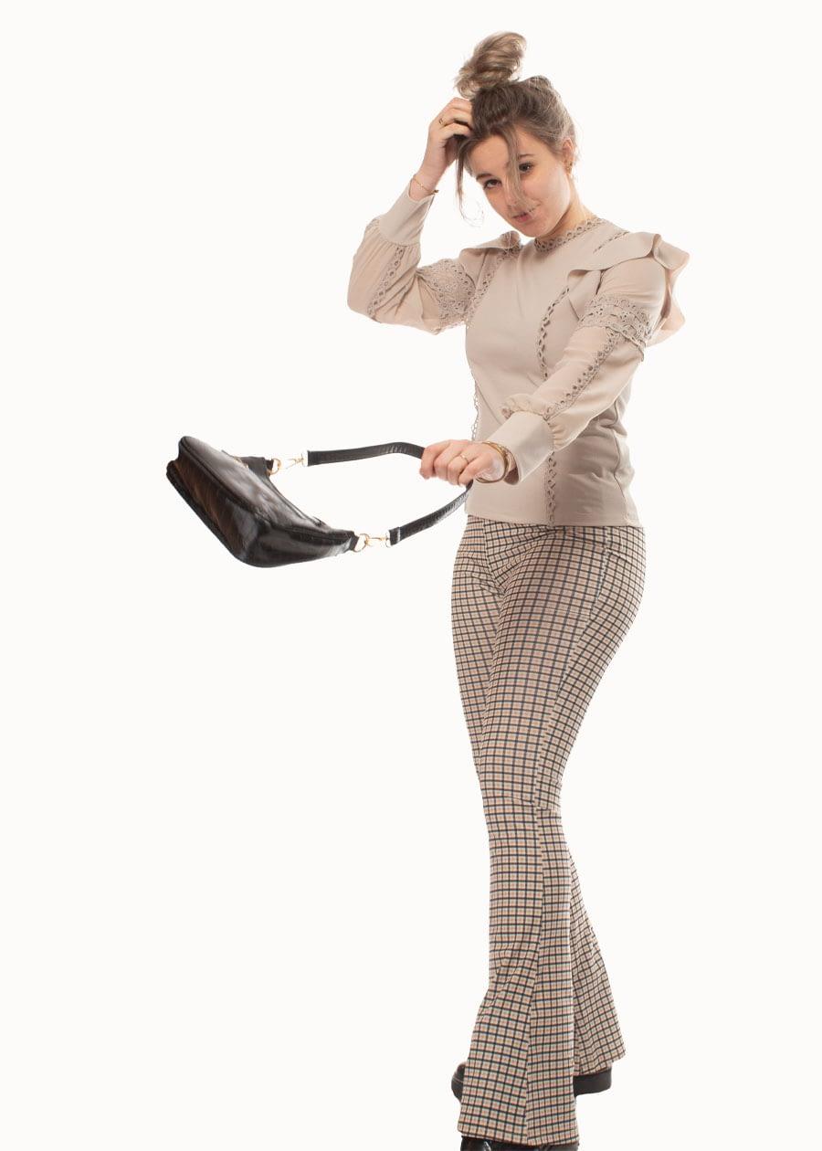 Ruffle blouse beige