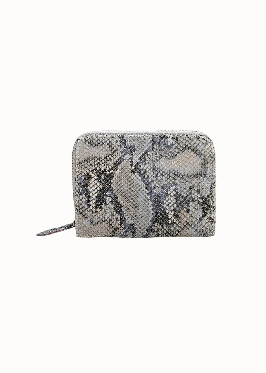 Portemonnee slangenprint grijs
