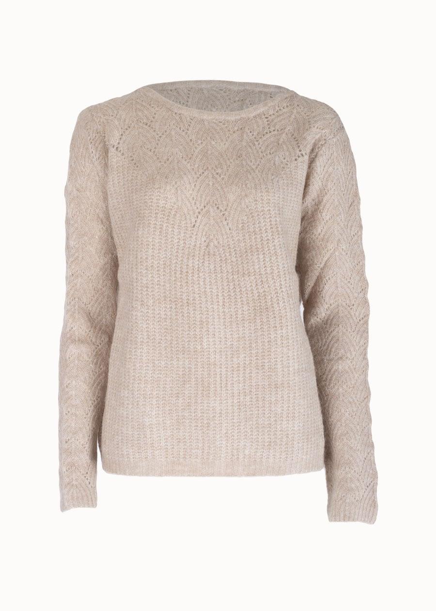 Beige knitted trui
