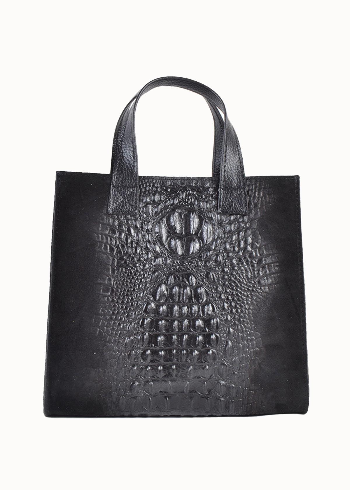 Lederen tas vierkant mat zwart